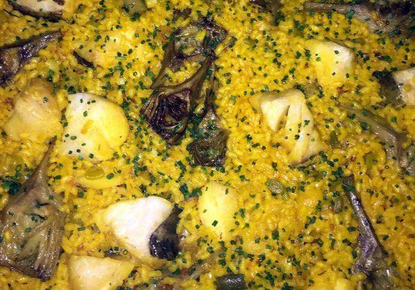 Arroz de bacalao, alcachofas y ajos tiernos Restaurante El Cierzo