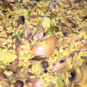 Arroz de pato, setas y ajos tiernos Restaurante El Cierzo