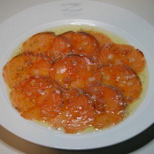 Carpaccio de salmón Restaurante El Cierzo